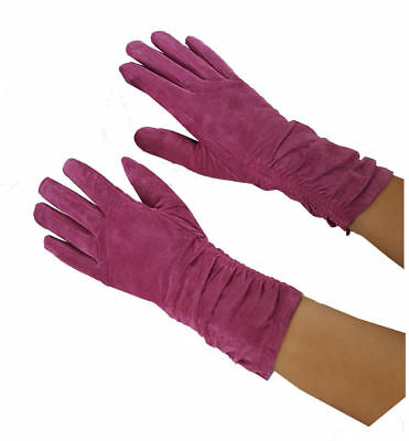 SALE! REAL SUEDE LEATHER RETRO RUCHED LONG HOT PINK LADIES LINED GLOVES Small 7