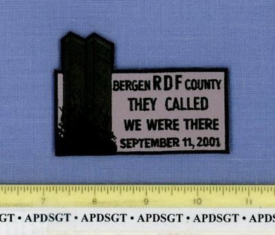 BERGEN RDF 9/11/2001 TWIN TOWERS NEW JERSEY Police Patch RAPID DEPLOYMENT FORCE