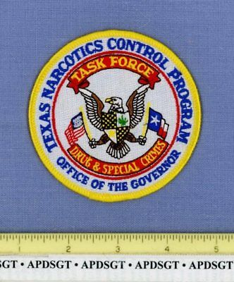 TEXAS GOVERNOR DRUG & SPECIAL CRIMES TASK FORCE Sheriff Police Patch NARCOTICS