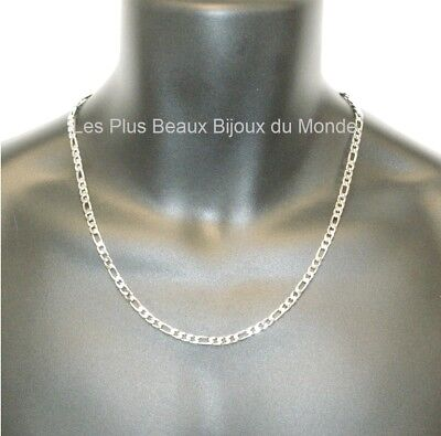 Collier HOMME CHAINE Maille FIGARO 5mm ACIER Inoxydable