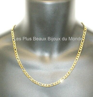 Collier HOMME CHAINE Maille FIGARO 6,5mm ACIER Inoxydable Plaqué OR