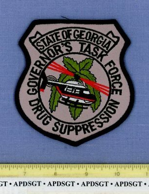 GEORGIA GOVERNOR'S DRUG SUPPRESSION TASK Police Patch HELICOPTER POT CANNABIS