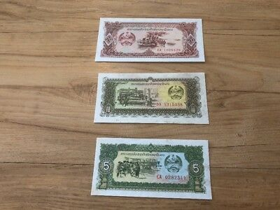 Laos Lot Set Of 3 Laos Banknotes 20,10,5 Kip From 1979 All In UNC Condition