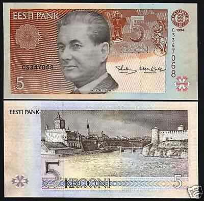 Estonia 5 Krooni P76 1994 Chess Board Horse Sword Unc Euro Currency Money Note