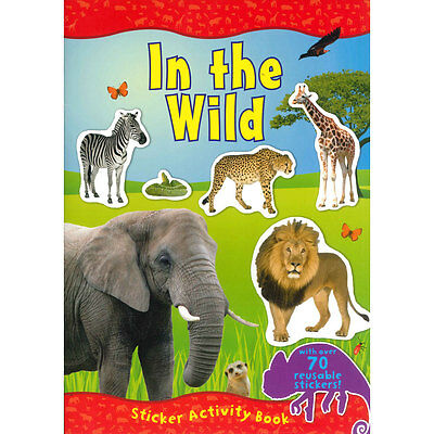 The Wild Animals Activity Book 70 + Reusable Stickers Full Colour Jungle 2458