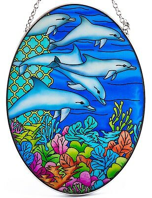 "Ocean Dolphins Suncatcher Hand Painted Glass By AMIA Studios 7"" x 5"""