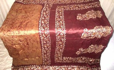 Cream Coffee Pure Silk 4 yard Vintage Sari Gift for Mother Festive Women #9AT76