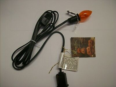 Bethany Lowe 6Ft. Black Light Cord with Orange C7 Bulb w/Rolling On/Off Switch