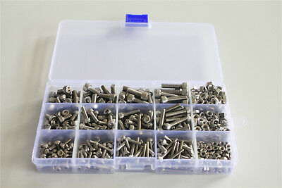 510pcs M3 M4 M5 304 Stainless Steel Allen Socket Bolts With Nuts Assortment Kit