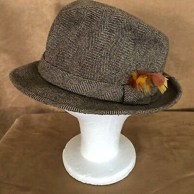 01e4a1d5b57 L Vintage Botany 500 tweed mens fedora hat plaid feather herringbone hipster
