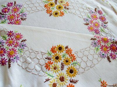 "VINTAGE TABLECLOTH HAND EMBROIDERED SMALL FLOWERS-LINEN-42""sq."