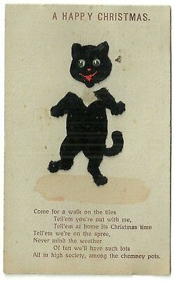 Novelty applique material postcard Black Cat Christmas greetings Luck