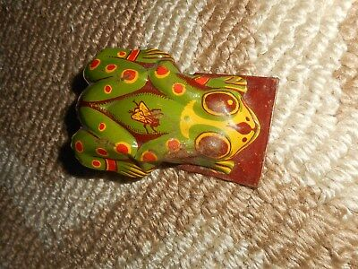 Vintage Frog Clicker Toy Metal Tin Antique Old Animal