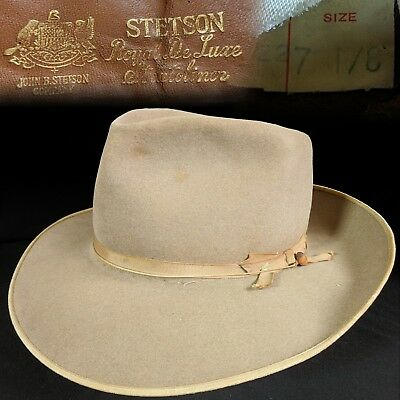 bcdf12b9b7c1f Vintage 7-1 8 1940s Stetson Royal DeLuxe Stratoliner Thin Ribbon Fedora  mens hat