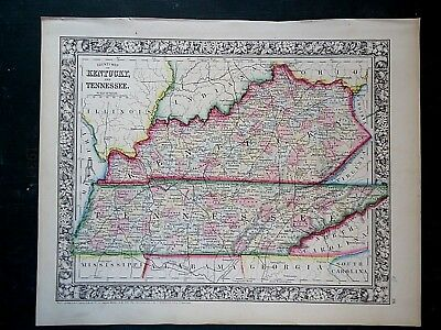 Vintage 1860 KENTUCKY - TENNESSEE MAP Old Antique Original Atlas Map 100918