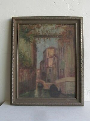 Antique VENICE ITALY CANAL GONDOLA CITYSCAPE BUILDING OIL PAINTING SIGNED!