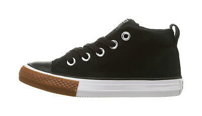 Converse Shoes Boys Girls Chuck Taylor All Star Mid Black White Gum Sneaker