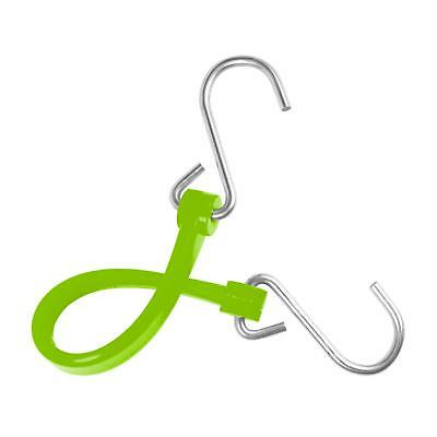 (2) The Perfect Bungee Cord 7-Inch Strap w Galvanized Steel S-Hooks Safety Green