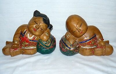 Chinese Wood Girl And Boy Pair Set 2 Figures Laying On A Ball Hand Carved Wooden
