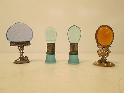 Lot of 4 Antique Intaglio Cameo Glass & Brass Name Card Place Holders