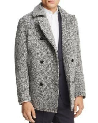 NWT EIDOS NAPOLI Double Breasted Tweeded Coat, 42R USA, 52 Italy, Large, Wh/Blk