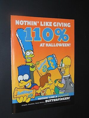 (3) Vintage 2001 The Simpsons Butterfinger candy magazine ads **FREE SHIPPING**