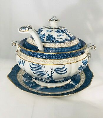 3 Antique Booths Real Blue Willow Soup Tureen Ladle and Platter Rare Serving