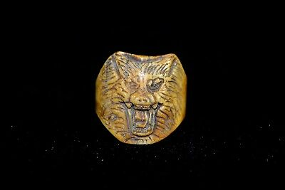 Collectible Chinese Old B0ne Handwork Carved Fierce Wolf King Rare Antique Ring