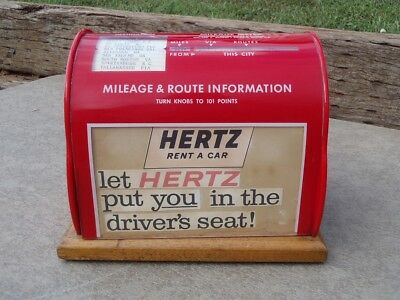 Extremely RARE Vintage HERTZ Rent a Car Destination Via MILEAGE METER Airport NR