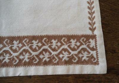 """Vintage Ecru Table Runner Taupe Italian Assissi Hand Embroidery 47"""""""