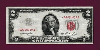 Fr.1509  $2  1953  STAR  LEGAL TENDER RED SEAL UNITED STATES NOTE # * 02054019 A