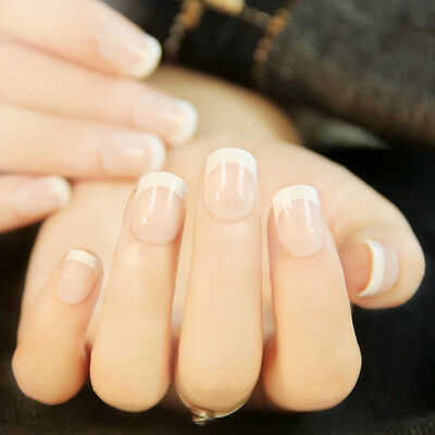 24Pcs Natural French Short False Nails Set Acrylic Full Fake Nails Faux Ongles