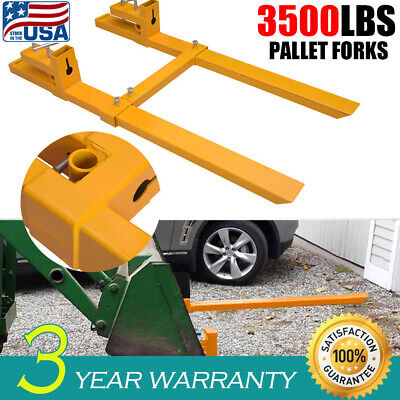 "Adjustable 43"" 3500lb Clamp On Pallet Forks Loader Stabilizer Bar Bucket Tractor"