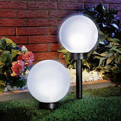2x Modern Large Outdoor Solar Powered White Globe Ball Garden Stake Post Lights