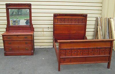 53364 Antique Cherry Bedroom Set Victorian Full Size Bed and Dresser w/ Mirror