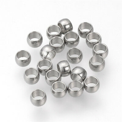 20 Pcs Stainless Steel Crimp Beads Findings Stainless Steel Color 3x2mm Hole 2mm