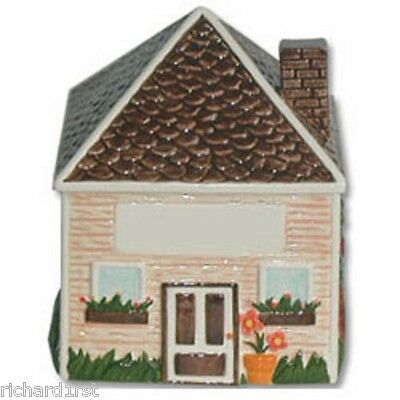 "Ceramic Cookie Snack Jar Peaked Roof House Building 6 7/8"" tall NEW"
