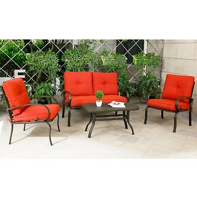 4 PC Patio Bistro Sofa Chairs Outdoor Wrought Iron Sectional Furniture Set Porch