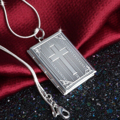 Fashion Photo Frame Floating Locket Book Pendant Chain Necklace Jewelry
