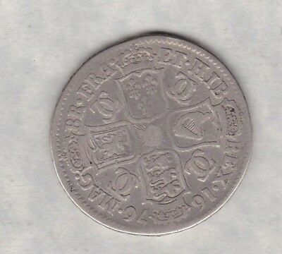 1676 Charles Ii Silver Half Crown In A Used Condition