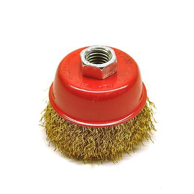 65mm Cup Brush & Wheel for Angle Grinder Crimped Brass Coated Steel Wire