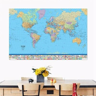 New Map Of The World Poster with Country Flags Wall Chart Home Date Version Silk