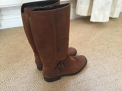 Girls Long Brown Leather Boots By Clarks In Size UK 13 F Fitting