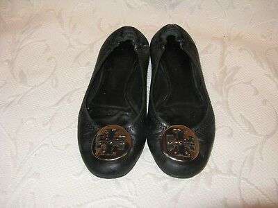 Tory Burch Womens 8 M Reva Black Leather Ballet Flats Slip Ons Shoes W/ Silver