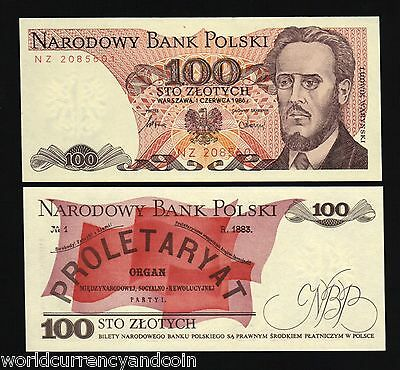 Poland 100 Zlotych P143 1986 Warynski News Paper Unc Polish Currency Bank Note