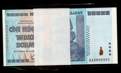 10 X Zimbabwe 100 Trillion Dollars, AA /2008 Series, UNC Banknote Currency #1