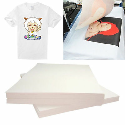 50Pc Iron On T-shirt Light Fabric A4 Heat Transfer Paper Kit for Inkjet Printer