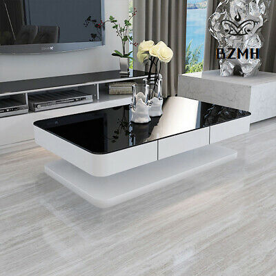 Black Glass Coffee Table White High Gloss MDF with 2 Storage Drawers Living Room