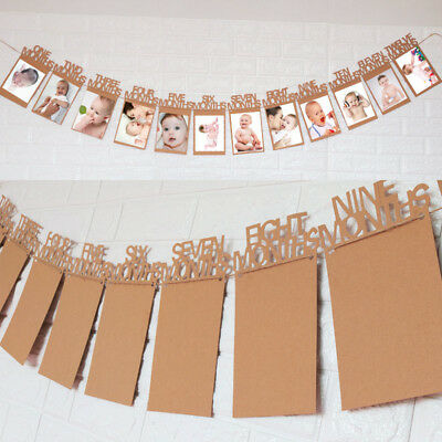 Baby Birthday Party Decorations 12 Month Photo Frame Monthly Photo Banner