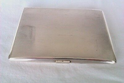 Large & Heavy Solid Silver Engine Turned Cigarette Case W.Neale & Sons Ltd 1962